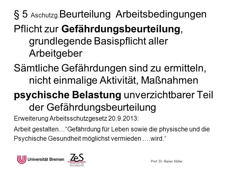 Prof. Dr. Rainer Müller § 5 Aschutzg. Beurteilung Arbeitsbedingungen Pflicht zur Gefährdungsbeurteilung, grundlegende Basispflicht aller Arbeitgeber S