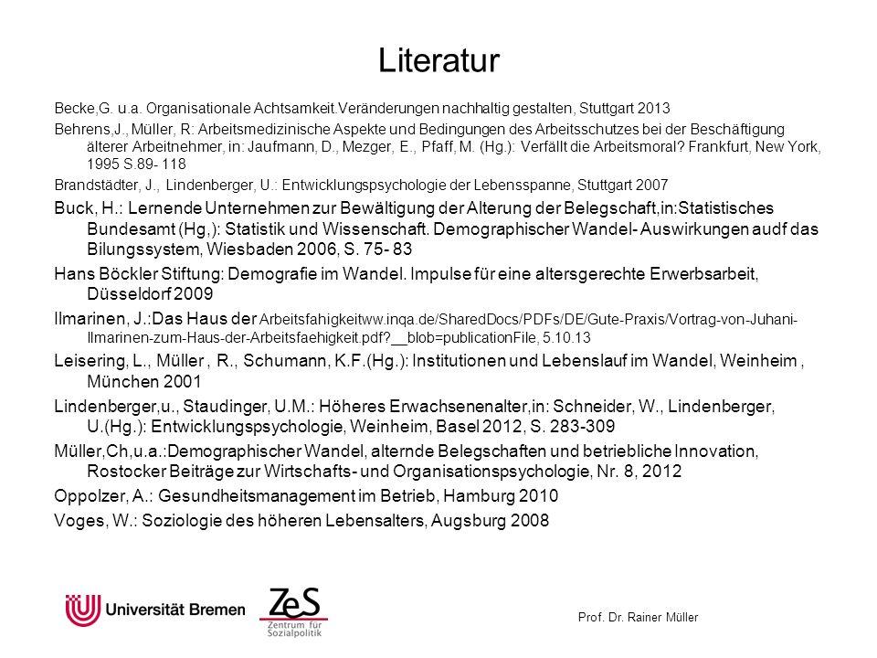Prof. Dr. Rainer Müller Literatur Becke,G. u.a. Organisationale Achtsamkeit.Veränderungen nachhaltig gestalten, Stuttgart 2013 Behrens,J., Müller, R: