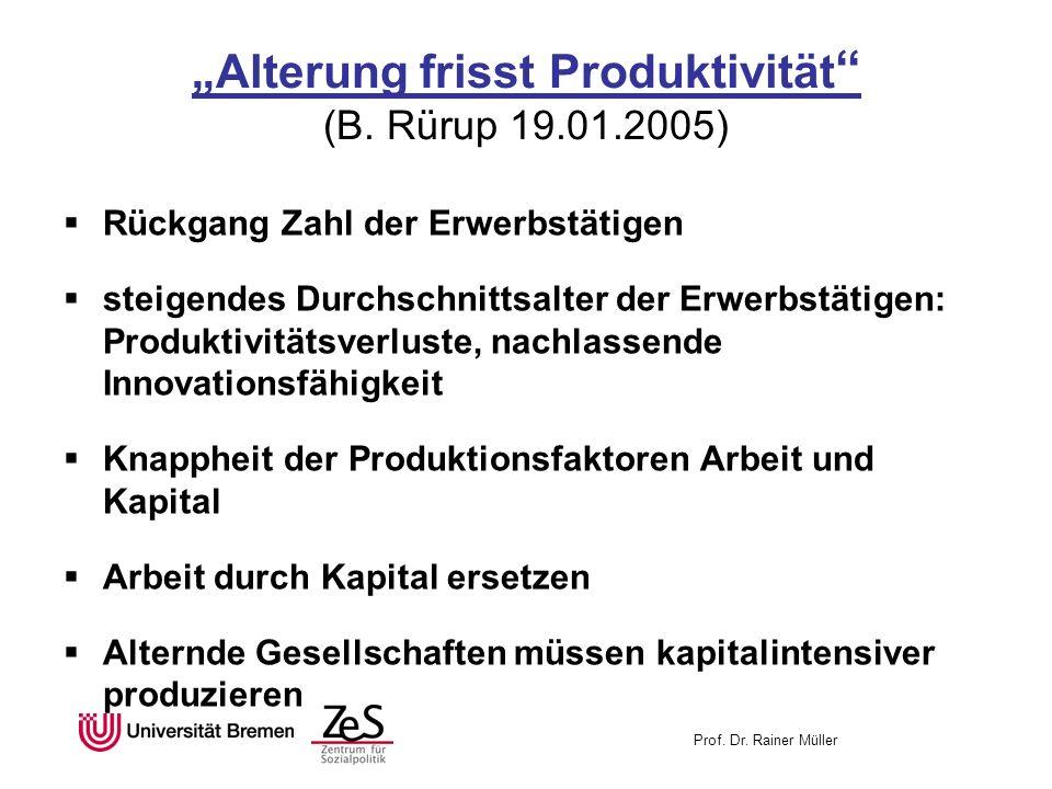 Prof. Dr. Rainer Müller Alterung frisst Produktivität (B. Rürup 19.01.2005) Rückgang Zahl der Erwerbstätigen steigendes Durchschnittsalter der Erwerbs