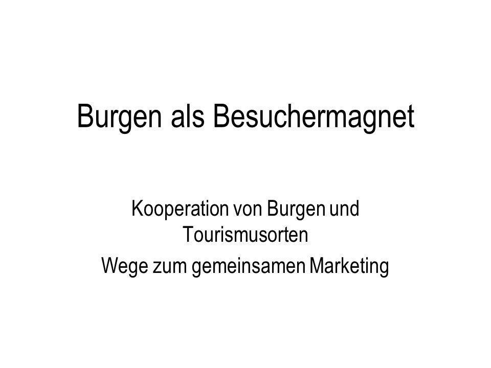 Vermarktungswege Eigene Marketingaktivitäten Ort Touristische Verbände auf regionaler, Landes-, Bundes- und internationaler Ebene Staatliche Schlösserverwaltungen Museumsverbände