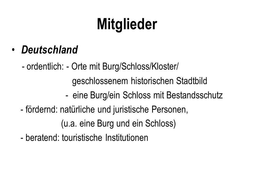 Mitglieder Deutschland - ordentlich: - Orte mit Burg/Schloss/Kloster/ geschlossenem historischen Stadtbild - eine Burg/ein Schloss mit Bestandsschutz