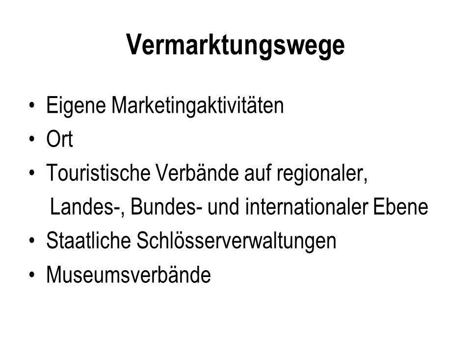 Vermarktungswege Eigene Marketingaktivitäten Ort Touristische Verbände auf regionaler, Landes-, Bundes- und internationaler Ebene Staatliche Schlösser