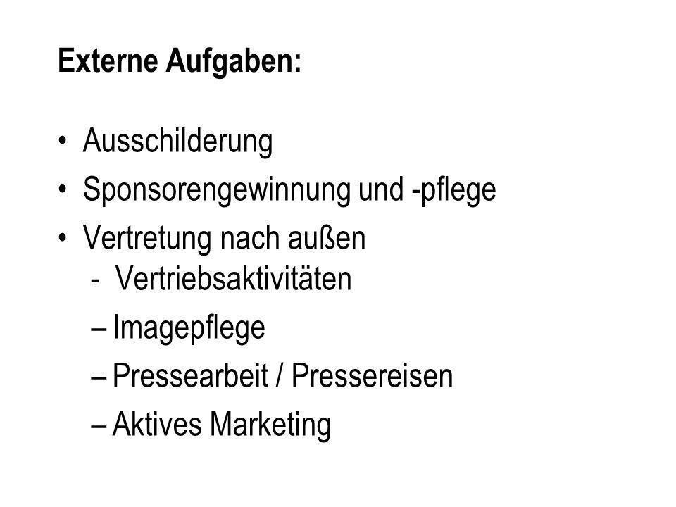 Ausschilderung Sponsorengewinnung und -pflege Vertretung nach außen - Vertriebsaktivitäten –Imagepflege –Pressearbeit / Pressereisen –Aktives Marketin