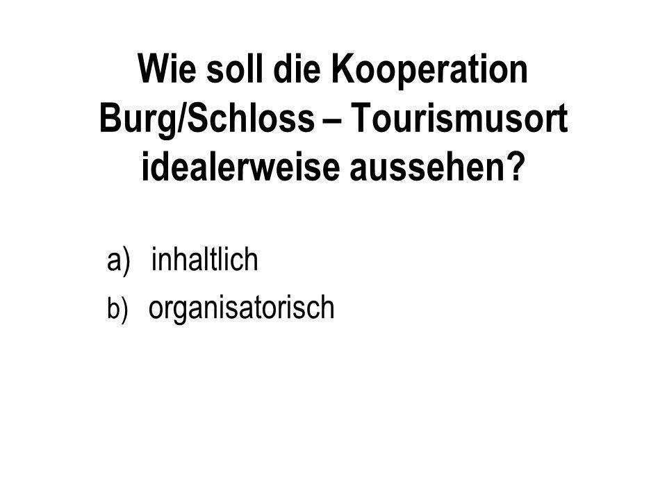 Wie soll die Kooperation Burg/Schloss – Tourismusort idealerweise aussehen? a)inhaltlich b) organisatorisch