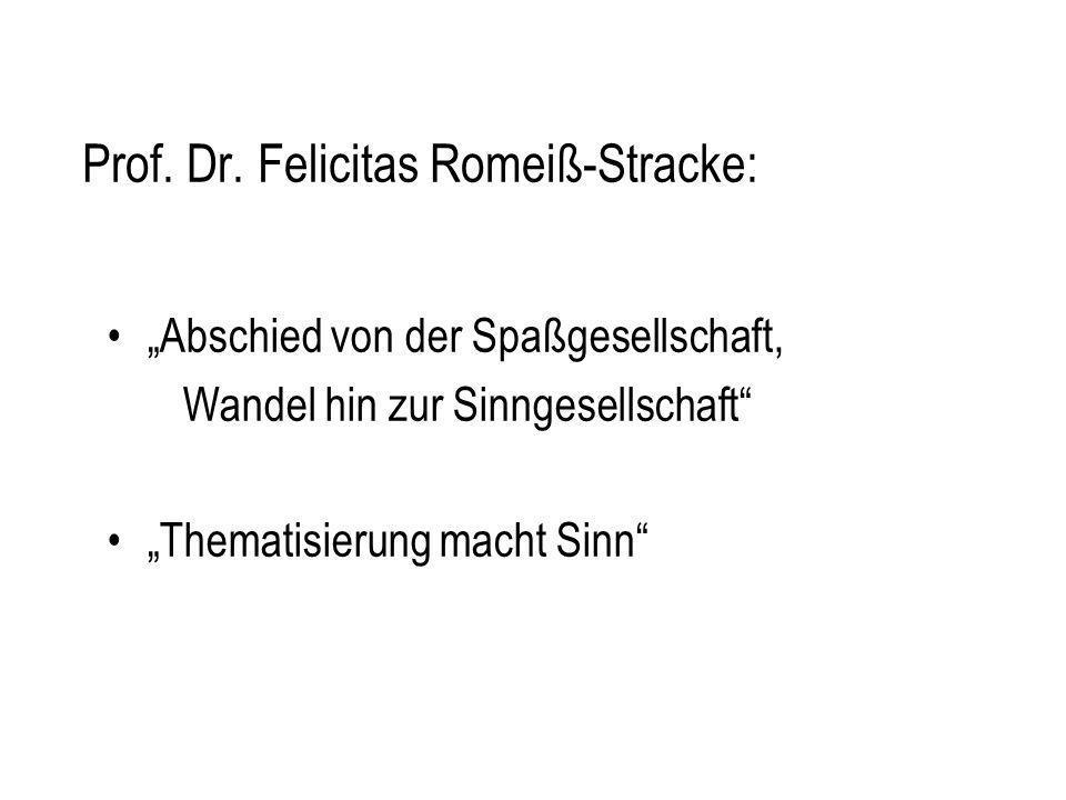Prof. Dr. Felicitas Romeiß-Stracke: Abschied von der Spaßgesellschaft, Wandel hin zur Sinngesellschaft Thematisierung macht Sinn