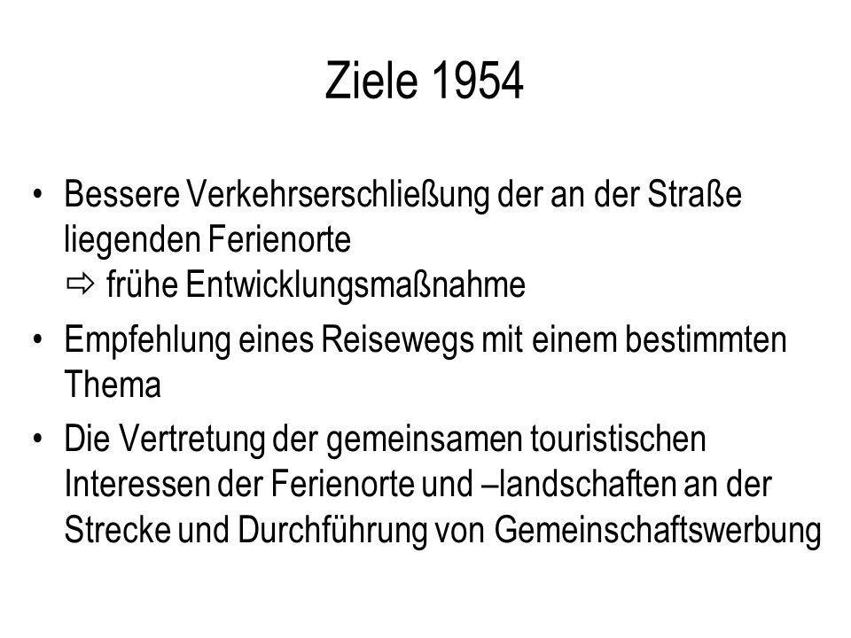 Ziele 1954 Bessere Verkehrserschließung der an der Straße liegenden Ferienorte frühe Entwicklungsmaßnahme Empfehlung eines Reisewegs mit einem bestimm