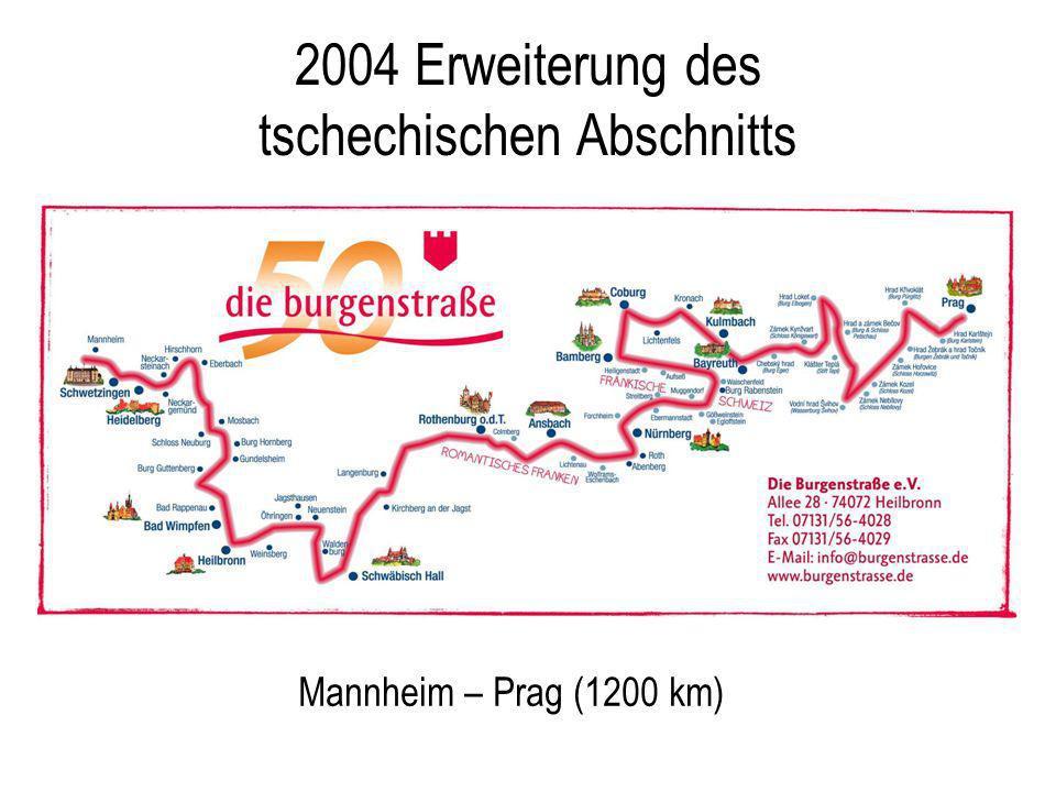 2004 Erweiterung des tschechischen Abschnitts Mannheim – Prag (1200 km) Aktuelle Streckenkarte einfügen