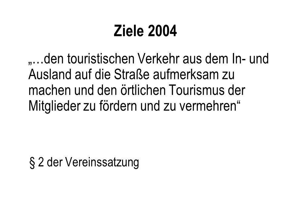 Ziele 2004 …den touristischen Verkehr aus dem In- und Ausland auf die Straße aufmerksam zu machen und den örtlichen Tourismus der Mitglieder zu förder