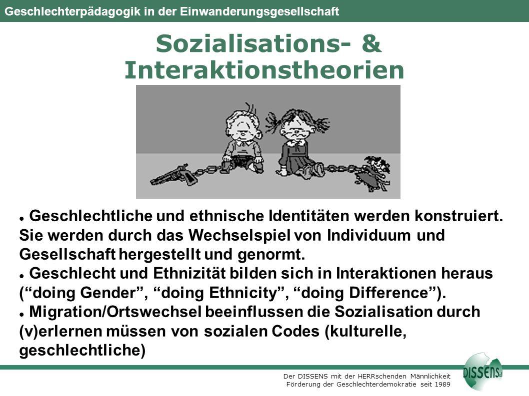 Der DISSENS mit der HERRschenden Männlichkeit Förderung der Geschlechterdemokratie seit 1989 Geschlechterpädagogik in der Einwanderungsgesellschaft Sozialisations- & Interaktionstheorien Geschlechtliche und ethnische Identitäten werden konstruiert.