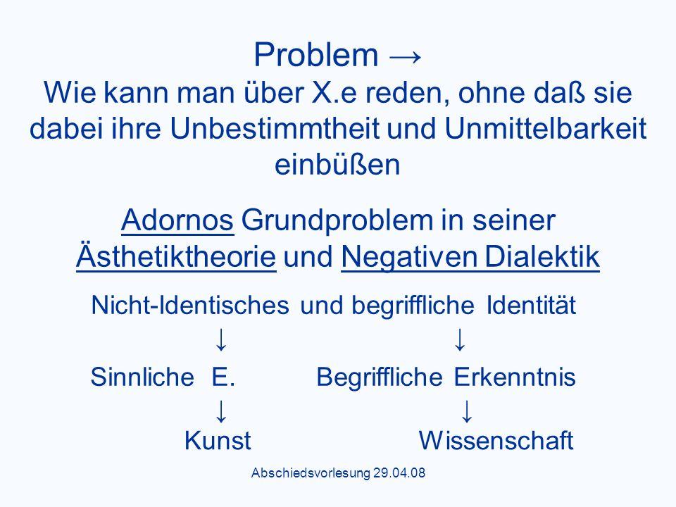 Abschiedsvorlesung 29.04.08 Problem Wie kann man über X.e reden, ohne daß sie dabei ihre Unbestimmtheit und Unmittelbarkeit einbüßen Adornos Grundproblem in seiner Ästhetiktheorie und Negativen Dialektik Nicht-Identisches und begriffliche Identität Sinnliche E.