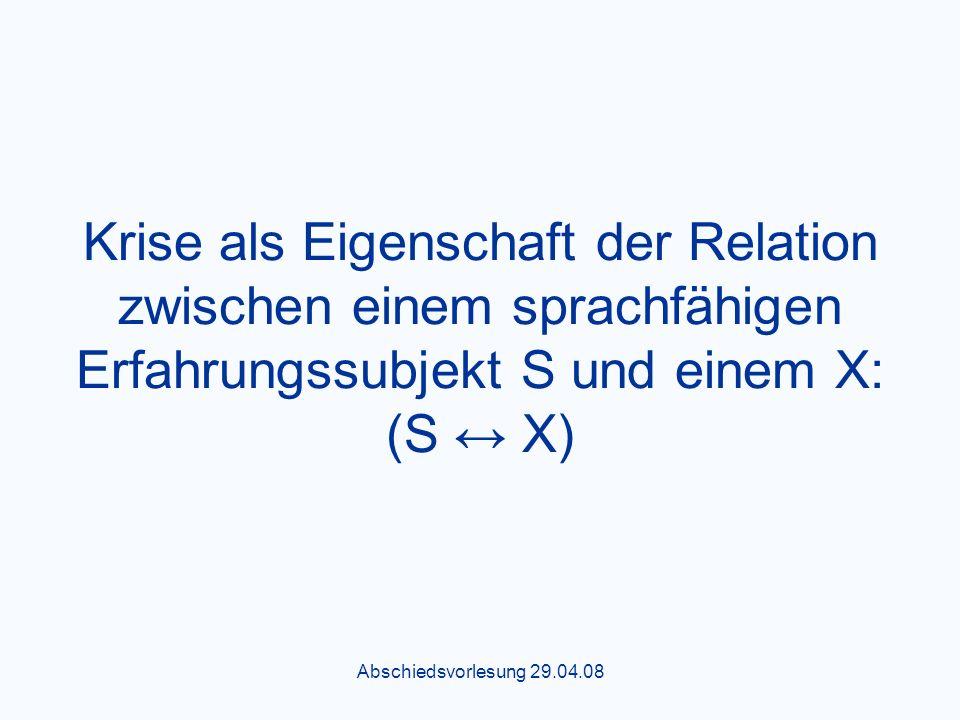 Abschiedsvorlesung 29.04.08 Krise als Eigenschaft der Relation zwischen einem sprachfähigen Erfahrungssubjekt S und einem X: (S X)