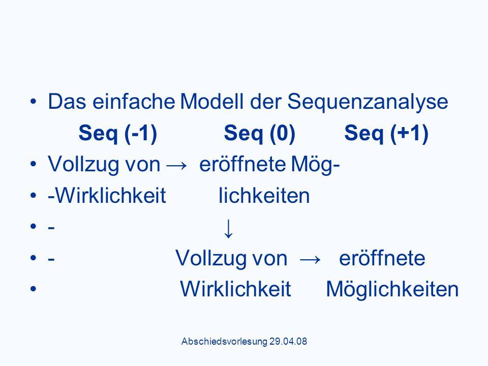Abschiedsvorlesung 29.04.08 Das einfache Modell der Sequenzanalyse Seq (-1) Seq (0) Seq (+1) Vollzug von eröffnete Mög- -Wirklichkeit lichkeiten - - Vollzug von eröffnete Wirklichkeit Möglichkeiten