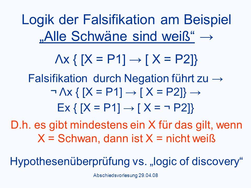Abschiedsvorlesung 29.04.08 Logik der Falsifikation am Beispiel Alle Schwäne sind weiß Λx { [X = P1] [ X = P2]} Falsifikation durch Negation führt zu ¬ Λx { [X = P1] [ X = P2]} Εx { [X = P1] [ X = ¬ P2]} D.h.