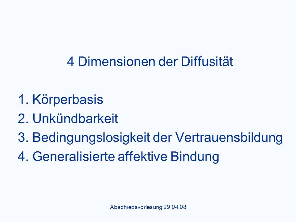 Abschiedsvorlesung 29.04.08 4 Dimensionen der Diffusität 1.