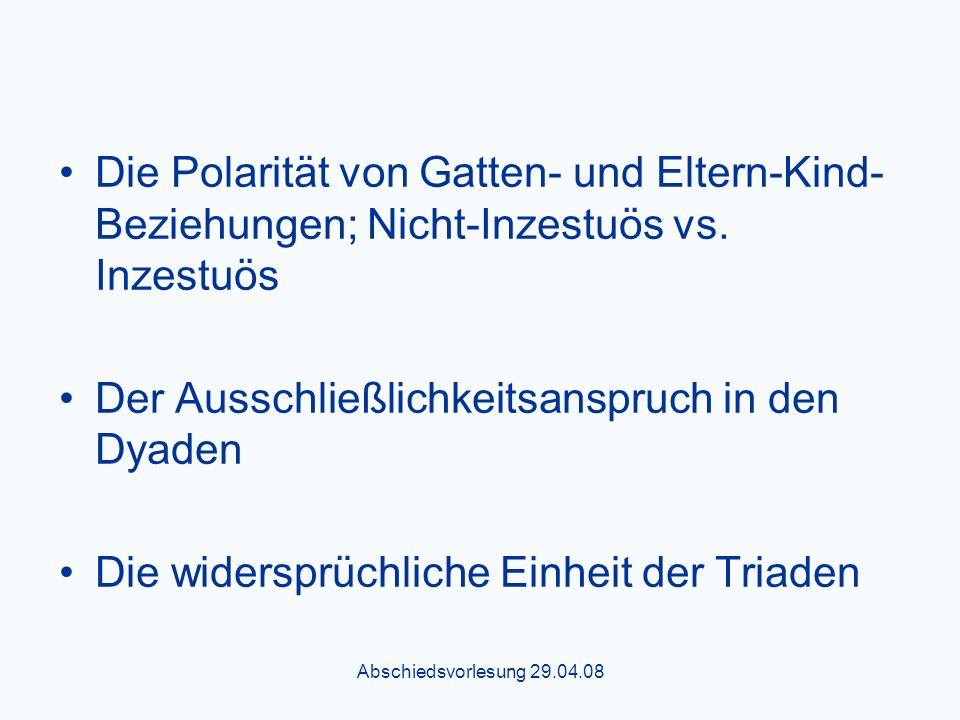 Abschiedsvorlesung 29.04.08 Die Polarität von Gatten- und Eltern-Kind- Beziehungen; Nicht-Inzestuös vs.