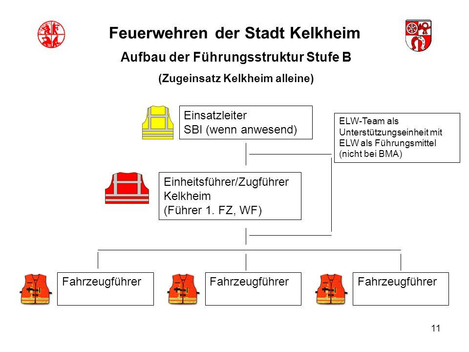 11 Feuerwehren der Stadt Kelkheim Aufbau der Führungsstruktur Stufe B (Zugeinsatz Kelkheim alleine) Einsatzleiter SBI (wenn anwesend) Fahrzeugführer E