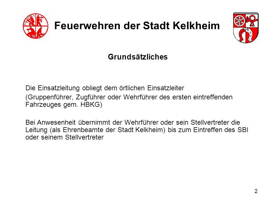 2 Feuerwehren der Stadt Kelkheim Die Einsatzleitung obliegt dem örtlichen Einsatzleiter (Gruppenführer, Zugführer oder Wehrführer des ersten eintreffe