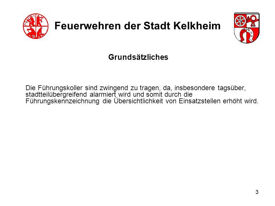 3 Feuerwehren der Stadt Kelkheim Die Führungskoller sind zwingend zu tragen, da, insbesondere tagsüber, stadtteilübergreifend alarmiert wird und somit