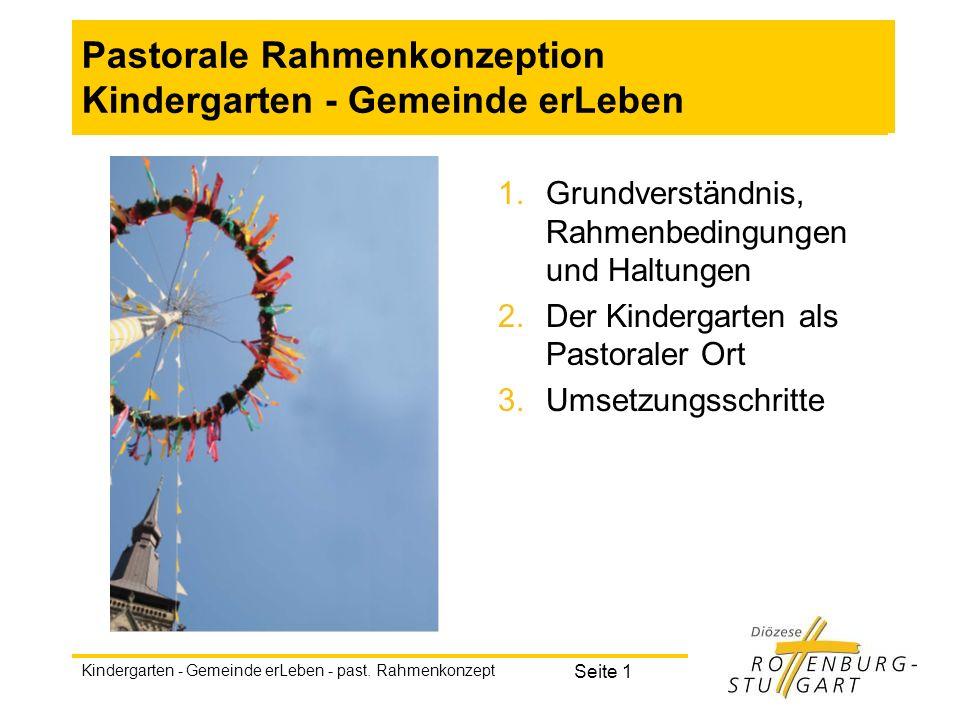 Kindergarten - Gemeinde erLeben - past. Rahmenkonzept Seite 1 Pastorale Rahmenkonzeption Kindergarten - Gemeinde erLeben 1.Grundverständnis, Rahmenbed