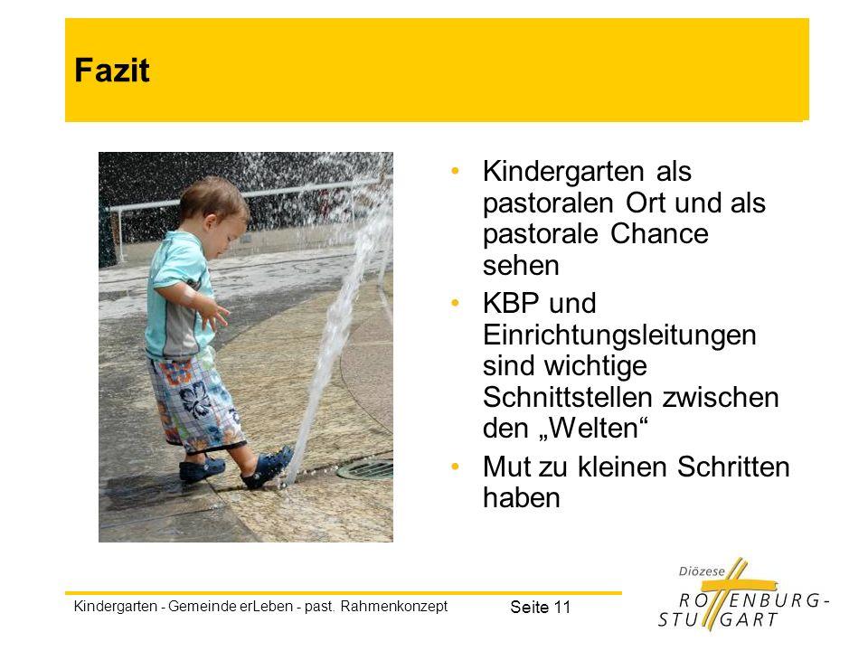 Kindergarten - Gemeinde erLeben - past. Rahmenkonzept Seite 11 Fazit Kindergarten als pastoralen Ort und als pastorale Chance sehen KBP und Einrichtun
