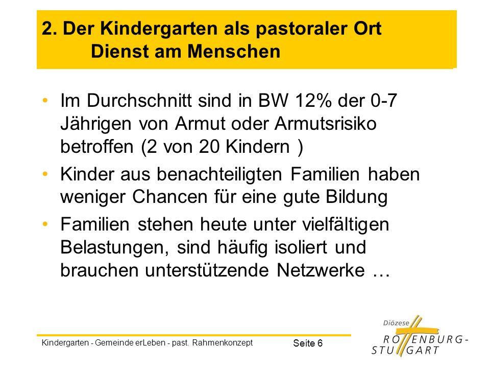 Kindergarten - Gemeinde erLeben - past. Rahmenkonzept Seite 6 2. Der Kindergarten als pastoraler Ort Dienst am Menschen Im Durchschnitt sind in BW 12%
