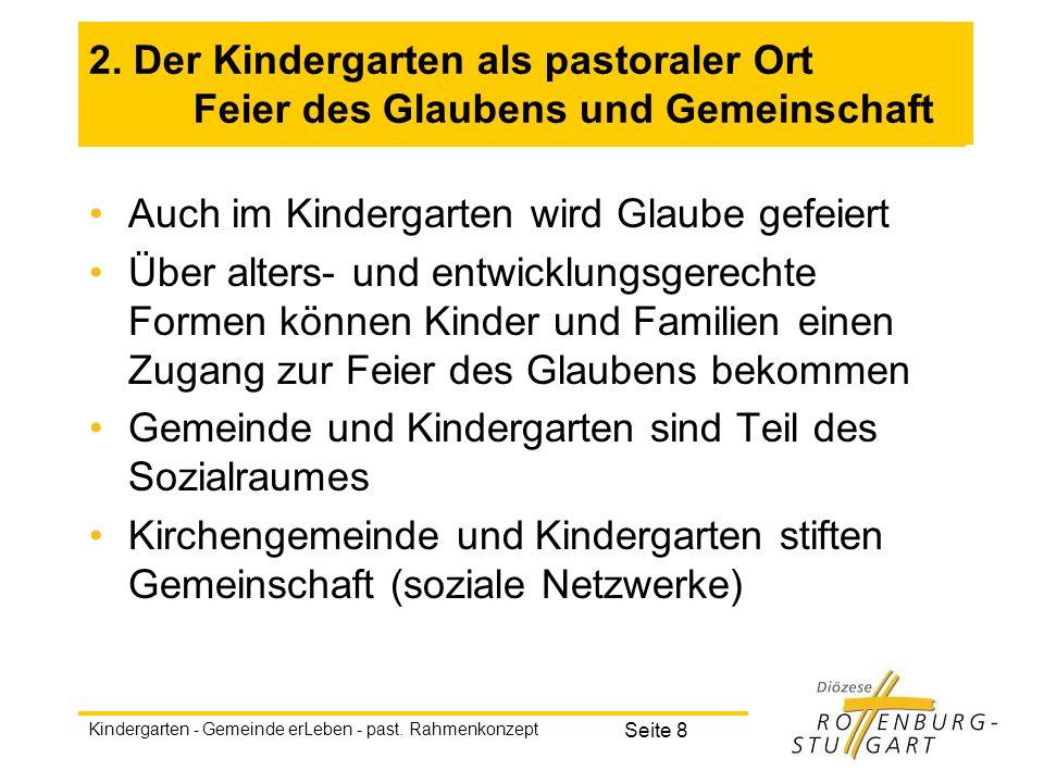 Kindergarten - Gemeinde erLeben - past. Rahmenkonzept Seite 8 2. Der Kindergarten als pastoraler Ort Feier des Glaubens und Gemeinschaft Auch im Kinde