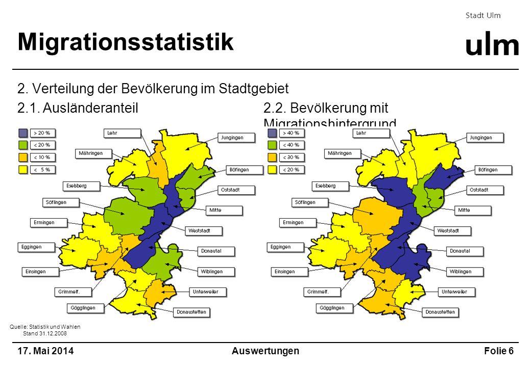 2.2. Bevölkerung mit Migrationshintergrund 17. Mai 2014Folie 6 Migrationsstatistik 2. Verteilung der Bevölkerung im Stadtgebiet Auswertungen 2.1. Ausl