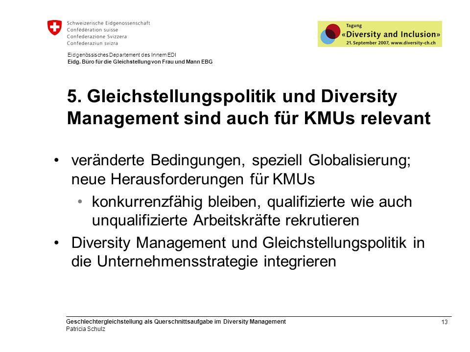 13 Geschlechtergleichstellung als Querschnittsaufgabe im Diversity Management Patricia Schulz Eidgenössisches Departement des Innern EDI Eidg. Büro fü
