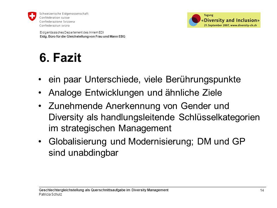 14 Geschlechtergleichstellung als Querschnittsaufgabe im Diversity Management Patricia Schulz Eidgenössisches Departement des Innern EDI Eidg. Büro fü