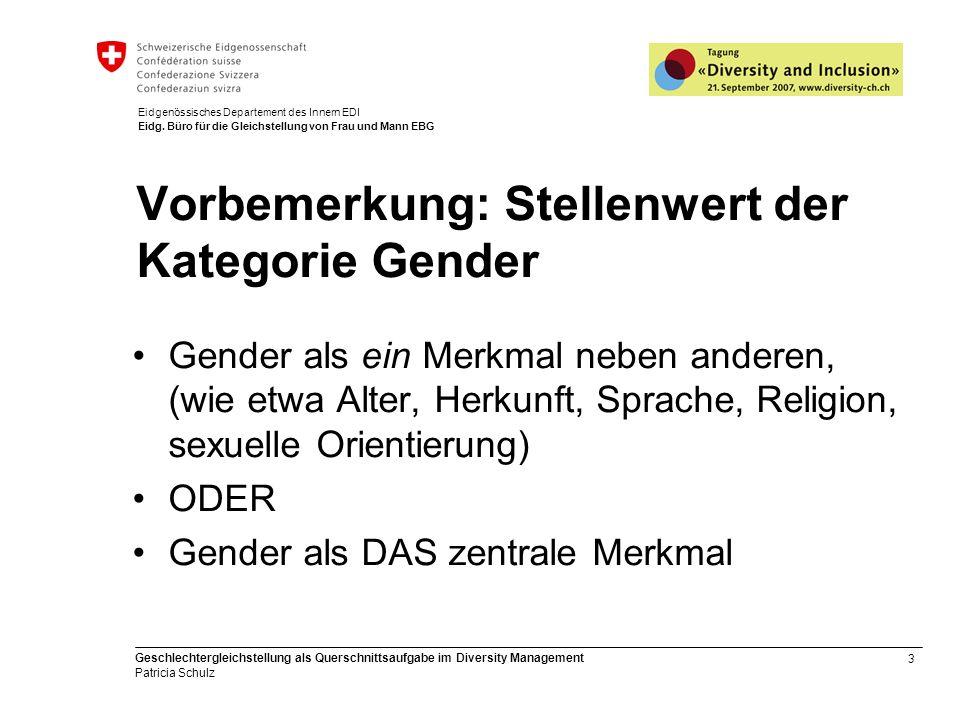 3 Geschlechtergleichstellung als Querschnittsaufgabe im Diversity Management Patricia Schulz Eidgenössisches Departement des Innern EDI Eidg. Büro für