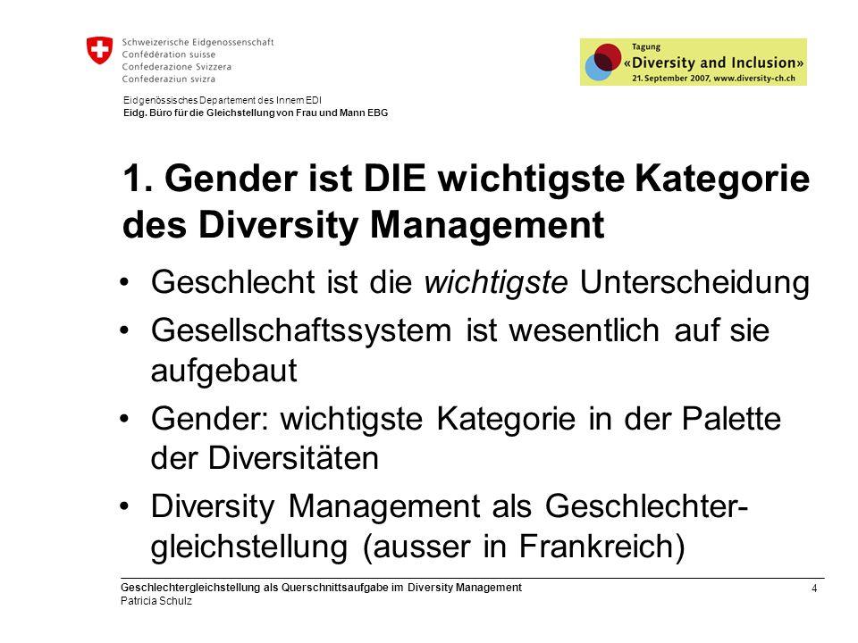 4 Geschlechtergleichstellung als Querschnittsaufgabe im Diversity Management Patricia Schulz Eidgenössisches Departement des Innern EDI Eidg. Büro für