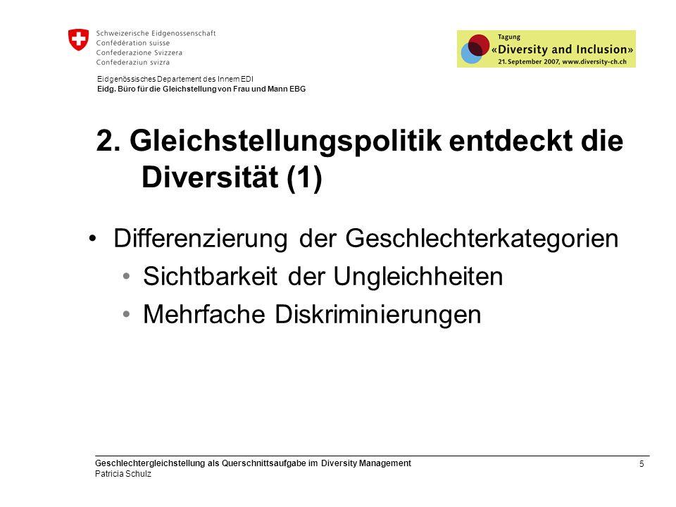5 Geschlechtergleichstellung als Querschnittsaufgabe im Diversity Management Patricia Schulz Eidgenössisches Departement des Innern EDI Eidg. Büro für