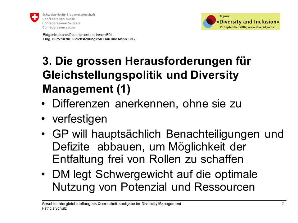 7 Geschlechtergleichstellung als Querschnittsaufgabe im Diversity Management Patricia Schulz Eidgenössisches Departement des Innern EDI Eidg. Büro für