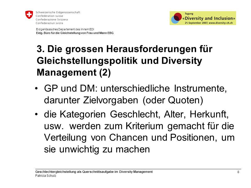 8 Geschlechtergleichstellung als Querschnittsaufgabe im Diversity Management Patricia Schulz Eidgenössisches Departement des Innern EDI Eidg. Büro für
