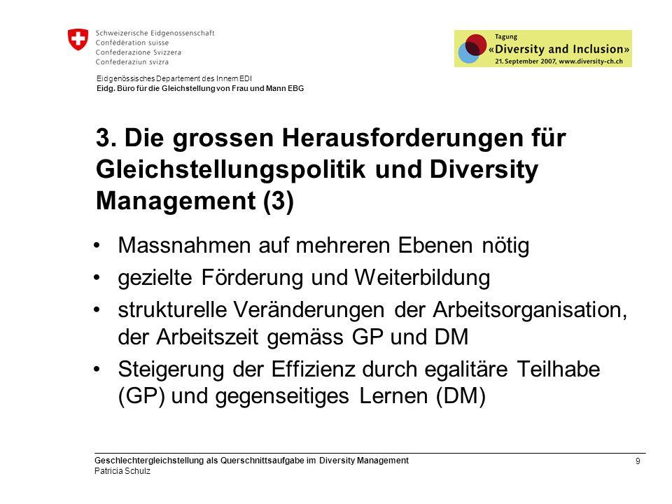 9 Geschlechtergleichstellung als Querschnittsaufgabe im Diversity Management Patricia Schulz Eidgenössisches Departement des Innern EDI Eidg. Büro für