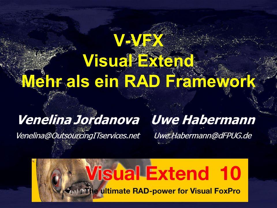 Visual Extend 10.0 11 Jahre VFX dFPUG c/o ISYS GmbH Marktführer in Europa Mehr Anwender als alle anderen Framework Hersteller zusammen Einziges Framework mit voller Cursoradapter Unterstützung Erstes Framework mit Unterstützung der DBI Sedna Components