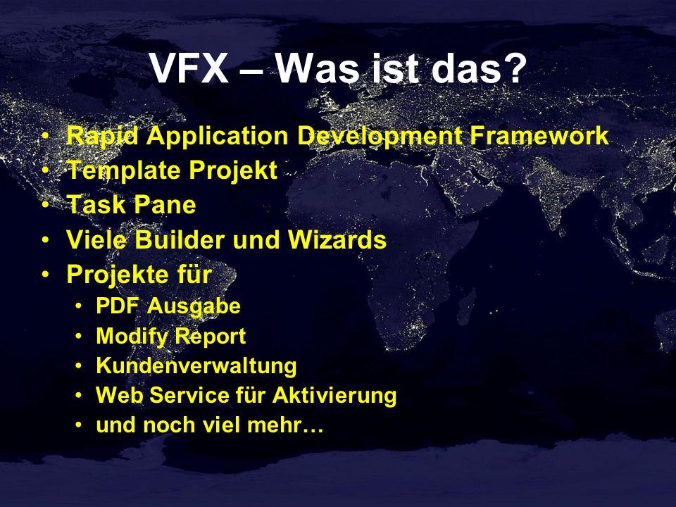 Kundenbearbeitung VFX – CDataFormPage Builder Auswahl der Formularklasse Einrichten der Datenumgebung Such-Grid und Bearbeitungsfelder sind auf einem Seitenrahmen angeordnet Reentranter Builder