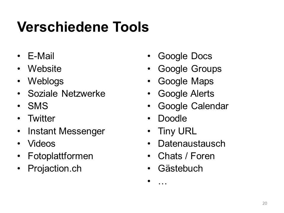 20 Verschiedene Tools E-Mail Website Weblogs Soziale Netzwerke SMS Twitter Instant Messenger Videos Fotoplattformen Projaction.ch Google Docs Google G