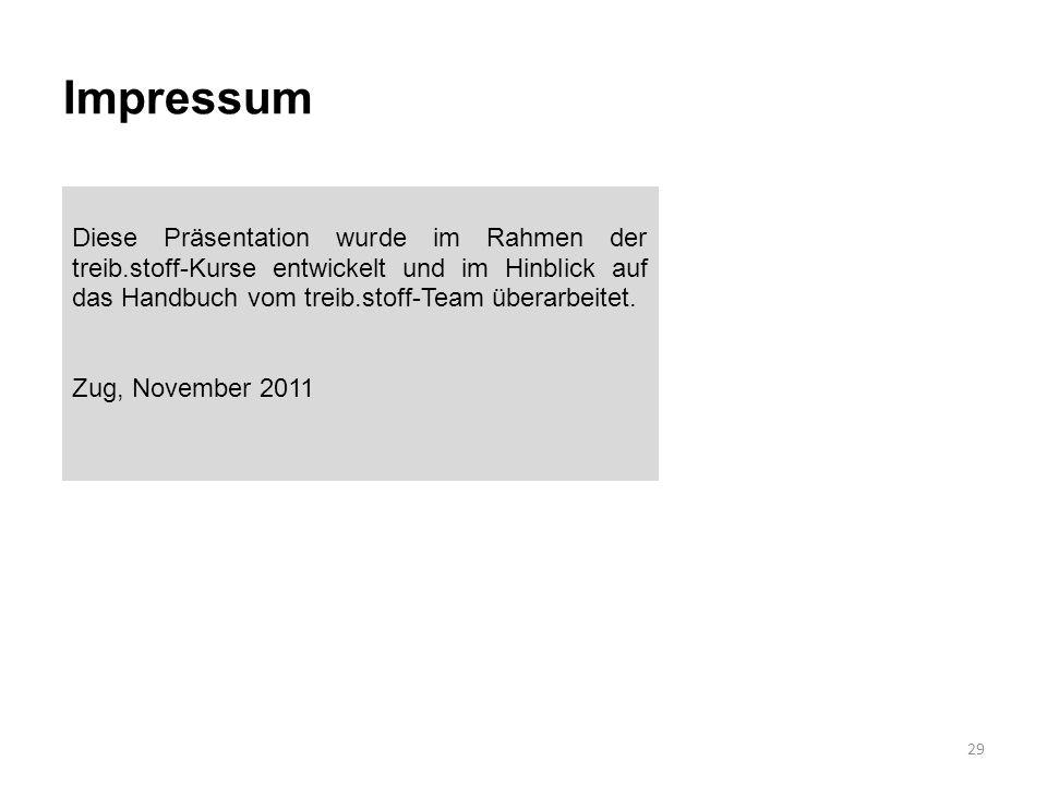 Impressum 29 Diese Präsentation wurde im Rahmen der treib.stoff-Kurse entwickelt und im Hinblick auf das Handbuch vom treib.stoff-Team überarbeitet. Z