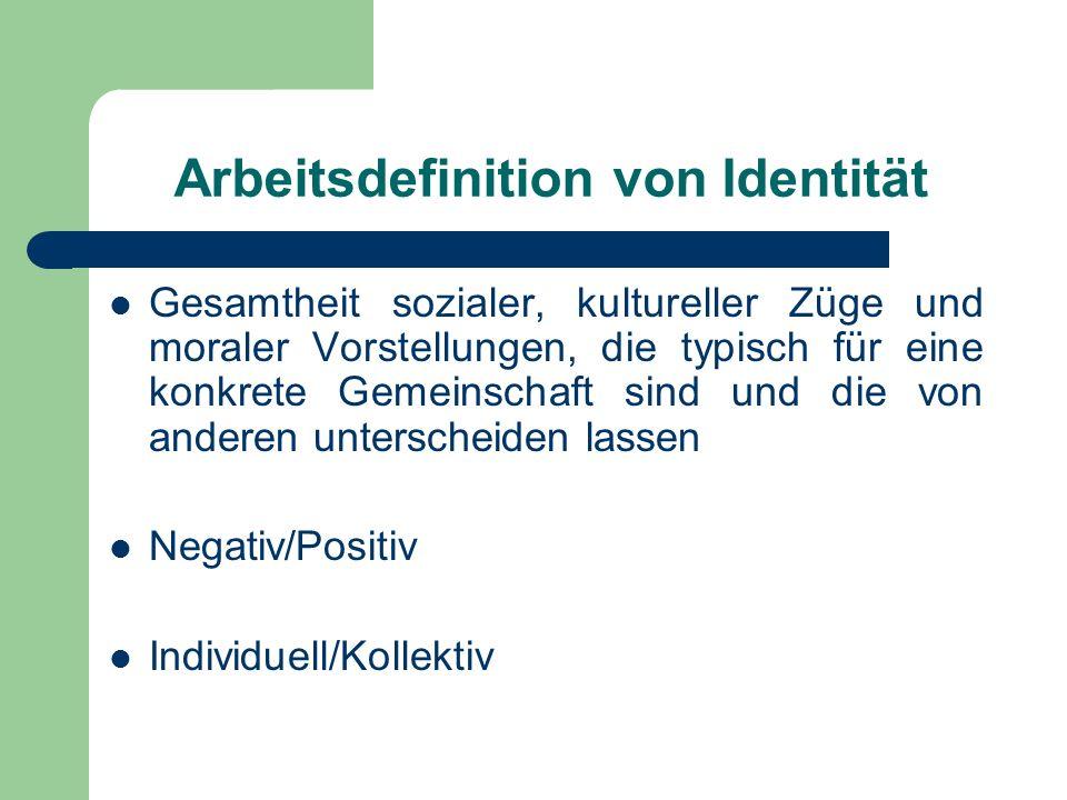 Arbeitsdefinition von Identität Gesamtheit sozialer, kultureller Züge und moraler Vorstellungen, die typisch für eine konkrete Gemeinschaft sind und d