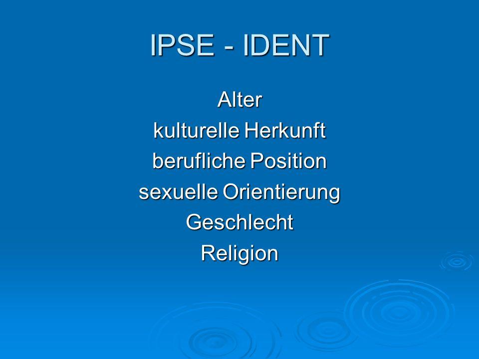 IPSE - IDENT Alter kulturelle Herkunft berufliche Position sexuelle Orientierung GeschlechtReligion