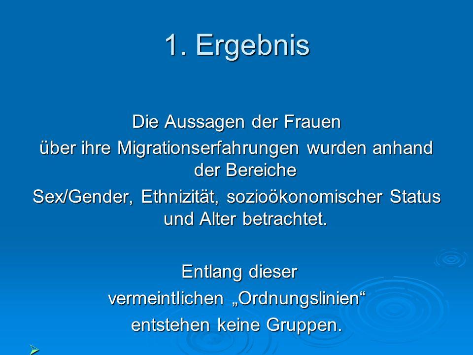1. Ergebnis Die Aussagen der Frauen über ihre Migrationserfahrungen wurden anhand der Bereiche Sex/Gender, Ethnizität, sozioökonomischer Status und Al