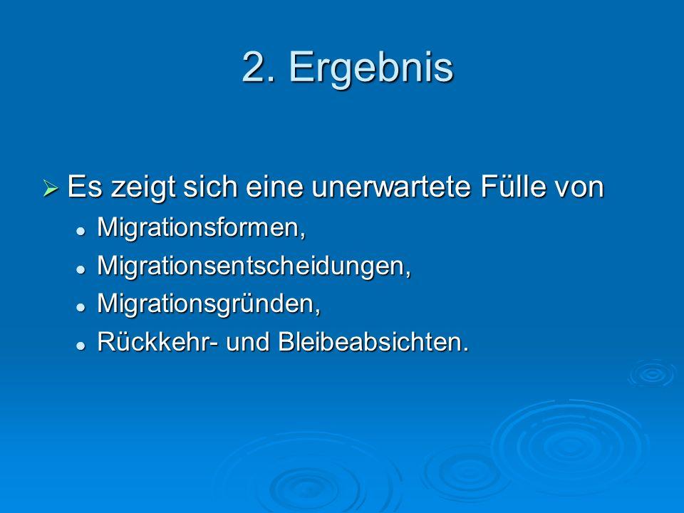2. Ergebnis Es zeigt sich eine unerwartete Fülle von Es zeigt sich eine unerwartete Fülle von Migrationsformen, Migrationsformen, Migrationsentscheidu
