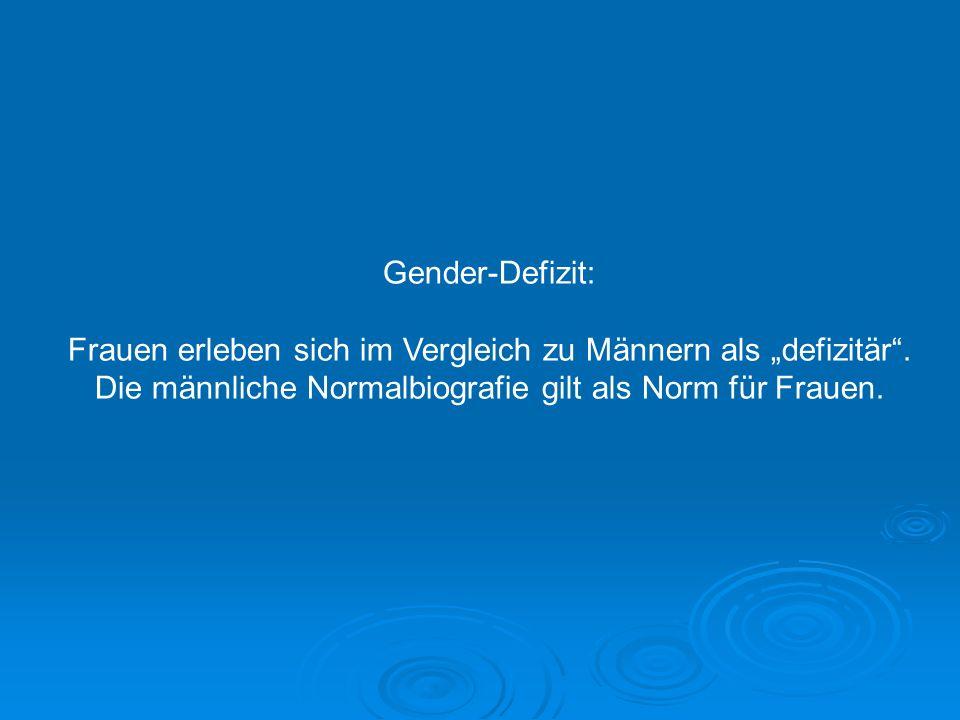 Gender-Defizit: Frauen erleben sich im Vergleich zu Männern als defizitär. Die männliche Normalbiografie gilt als Norm für Frauen.