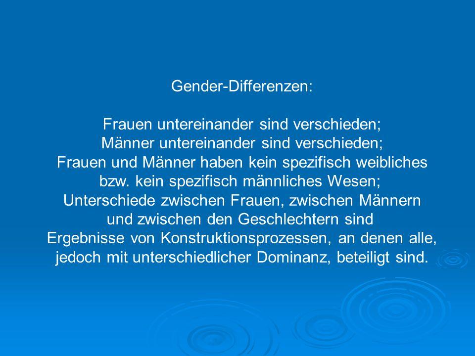 Gender-Differenzen: Frauen untereinander sind verschieden; Männer untereinander sind verschieden; Frauen und Männer haben kein spezifisch weibliches b