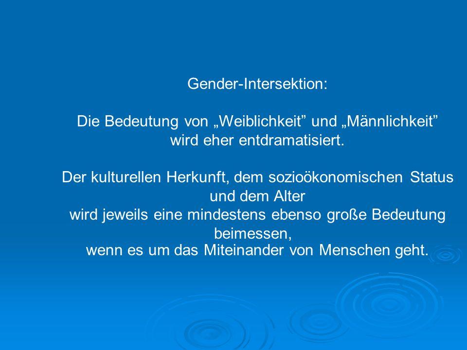 Gender-Intersektion: Die Bedeutung von Weiblichkeit und Männlichkeit wird eher entdramatisiert. Der kulturellen Herkunft, dem sozioökonomischen Status