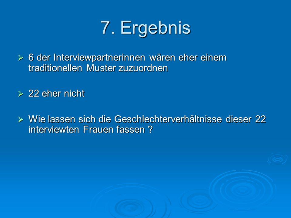 7. Ergebnis 6 der Interviewpartnerinnen wären eher einem traditionellen Muster zuzuordnen 6 der Interviewpartnerinnen wären eher einem traditionellen