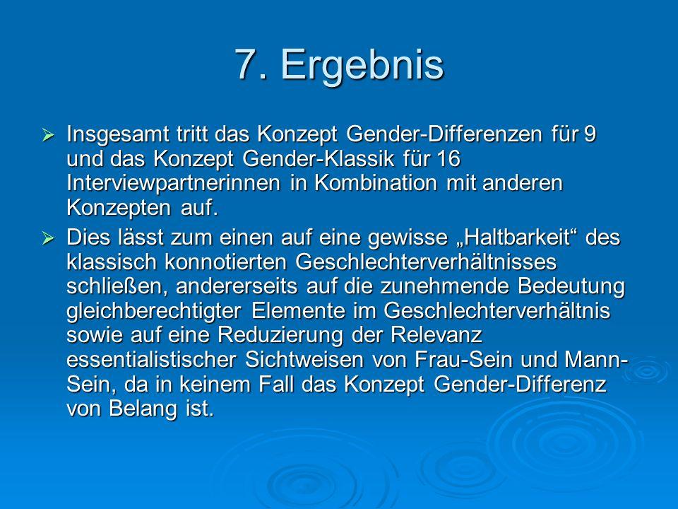 7. Ergebnis Insgesamt tritt das Konzept Gender-Differenzen für 9 und das Konzept Gender-Klassik für 16 Interviewpartnerinnen in Kombination mit andere