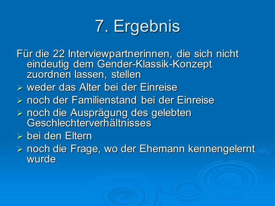 7. Ergebnis Für die 22 Interviewpartnerinnen, die sich nicht eindeutig dem Gender-Klassik-Konzept zuordnen lassen, stellen weder das Alter bei der Ein