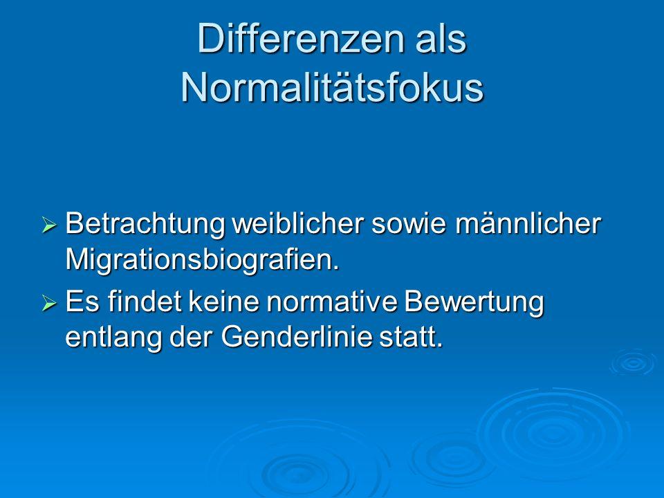 Differenzen als Normalitätsfokus Betrachtung weiblicher sowie männlicher Migrationsbiografien. Betrachtung weiblicher sowie männlicher Migrationsbiogr